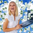 Business woman having lot of money - Stock Photo