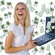 Woman having lot of money - Stock Photo