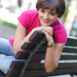Teen girl on the bench — Stock fotografie