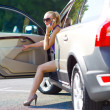Woman with great legs exit the car — Stock Photo #22202685