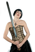Gothic woman with sword — Stock Photo