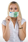Woman silenced with euro bill on her mouth — Stock Photo