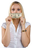 Mujer silenciada con billete de dólar en la boca — Foto de Stock