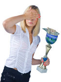Woman with trophy full of money — Stock Photo