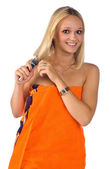 Woman brushing her hair — Stock Photo