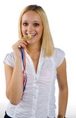 Woman holding medal — Stock Photo