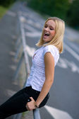 Happy woman on the street — Stock Photo