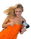 Woman with hair blower — Stock Photo