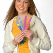 Teen girl with nail files — Stock Photo