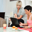 Two woman friends with laptop at home — Stock Photo #22308379
