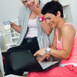 Two mature woman friends with laptop at home — Stock Photo #22308459