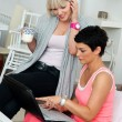 Two mature woman friends with laptop at home — Stock Photo #22308477