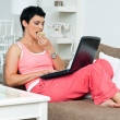 woman with laptop — Stock Photo