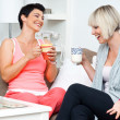 Two happy woman friends - Stock Photo