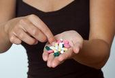 Handfull of pills — Stock Photo