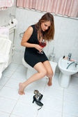 Attractive drunk woman with wine — Stock Photo