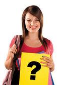 Schoolgirl with question mark — Stock Photo