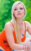 Teen girl with tatoo — Stock Photo