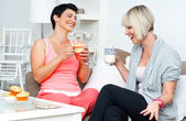Two happy woman friends — Foto Stock