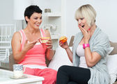 Two woman friends chating — Stock Photo