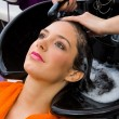 Foto Stock: Hair stylist washing womhead