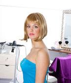 Woman wearing blond wig — Stock Photo