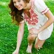 Teen girl in the grass — Stock Photo
