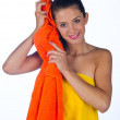 Teen girl with towel — Stok fotoğraf