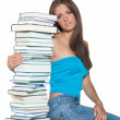 Woman with books — Stockfoto
