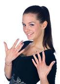 Teen girl with fingernails tattoos — Stock Photo