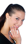Teen girl with nail tattoos — Stock Photo