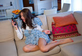 Teen girl with phone — Stock Photo