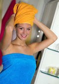 Woman in her bathroom — Stock Photo