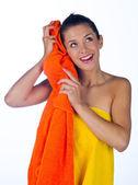 Teen girl with towel — Stock Photo