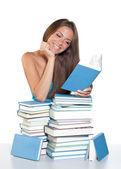 Teen girl reading book — Stock Photo
