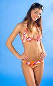 Girl in swimsuit smiling — Stock Photo
