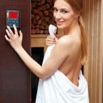 Woman in compact sauna — Stock Photo #25383245