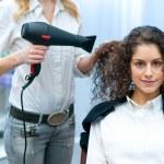 Stylist drying woman hair in salon — Stock Photo #25385111