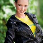 Teen girl in leather jacket — Stock Photo #25389143