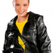 Teen girl in leather jacket — Stock Photo