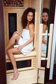 Woman in compact sauna — Stock Photo