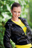 Teen girl in leather jacket — Stock Photo