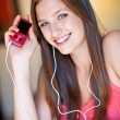 Teen girl listen music — Stock Photo