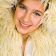 Teen in fur jacket — Stock Photo