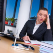 Tired business woman - Stock Photo