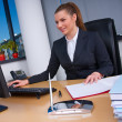 Business woman at computer — Stock Photo