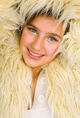 Teen in fur jacket — Stock Photo