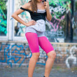 Teen girl on roller skates - Stock Photo