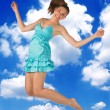 Teen girl jumping — Stock Photo
