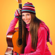Teen girl with guitar — Stock Photo